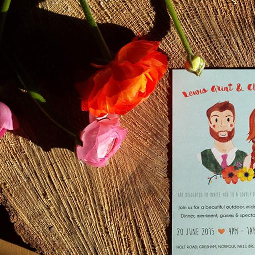 Classic wedding invitation with flowers