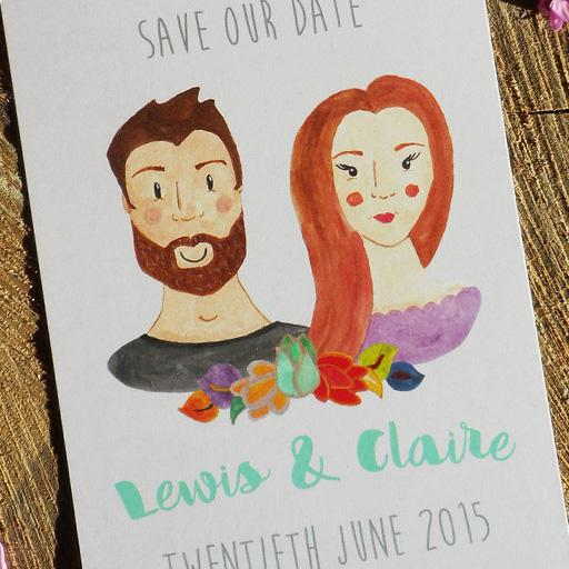 Classic save the date stationery featuring an illustrated couple
