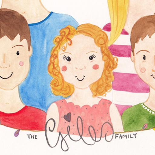 Giles family watercolour portrait, cropped to children