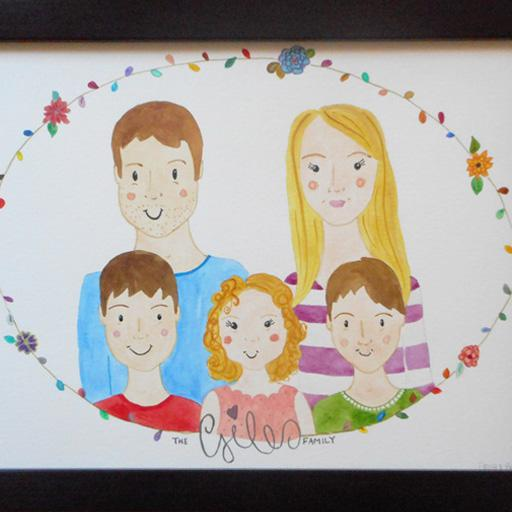 Framed watercolour portrait of the Giles family