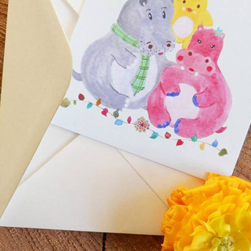 Hippo baby announcement stationery card and envelope