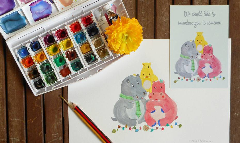 Baby announcement stationery card featuring a Hippo family