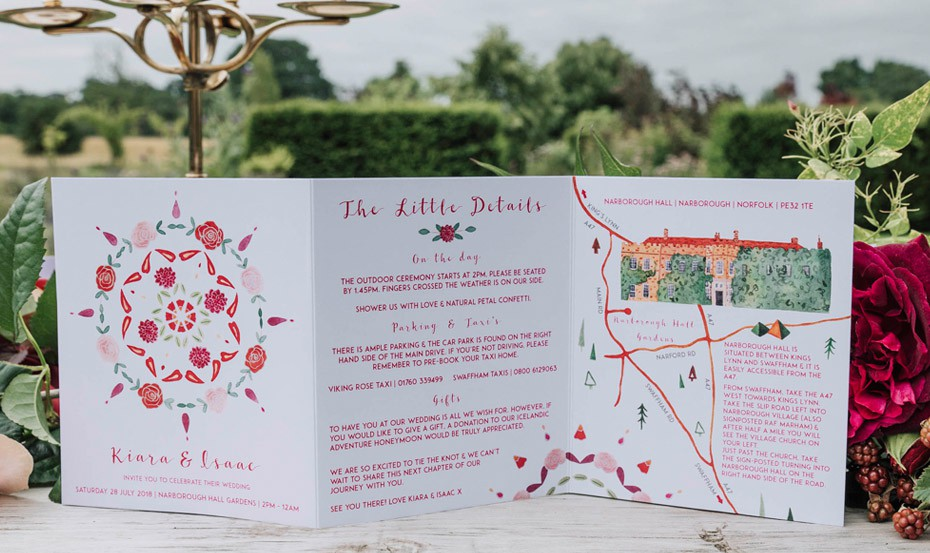Indian Boho unfolded wedding invitation
