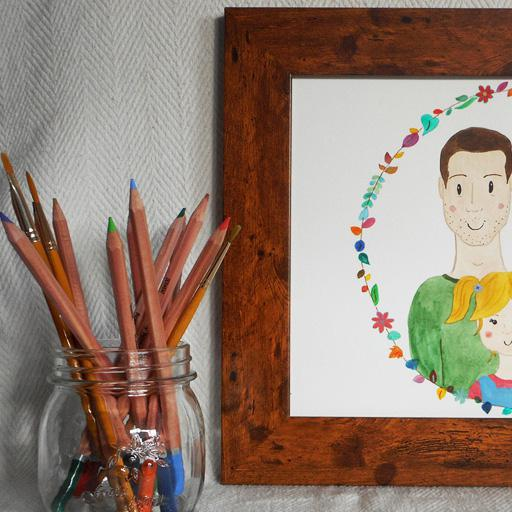 Framed watercolour portrait of the Kula family