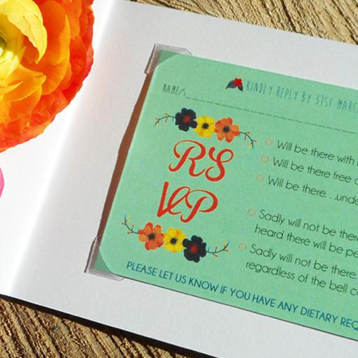 Little Bespoke Book wedding invitation RSVP page