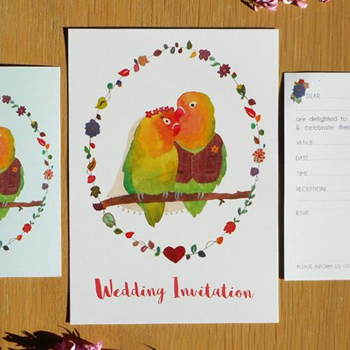 Ready-to-Write Lovebirds wedding invitation choices