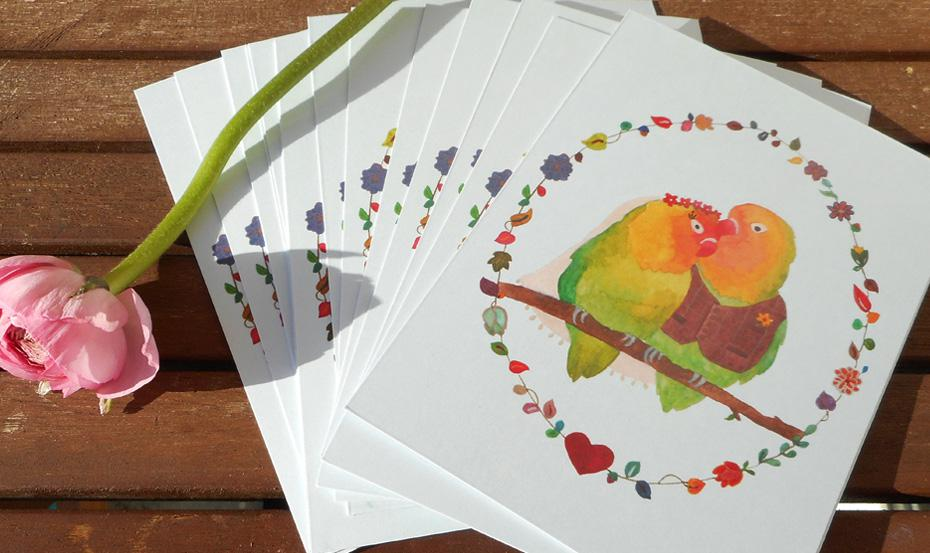 Ready-to-Write Lovebirds wedding invitations fanned out