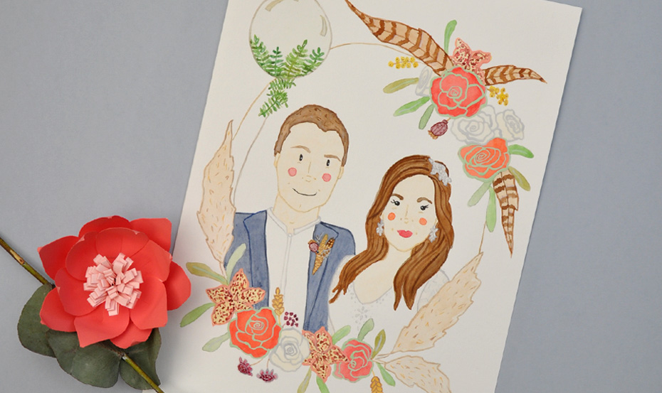 Watercolour wedding portrait